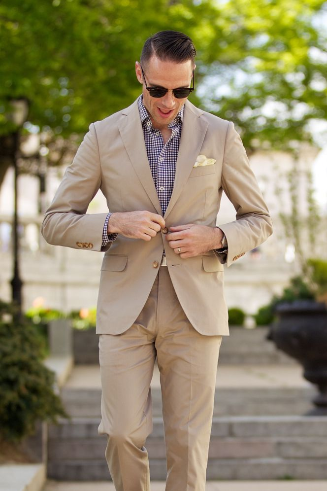The Essential Khaki Suit Looking For Great Shirts And Ties To Pair With Drew S