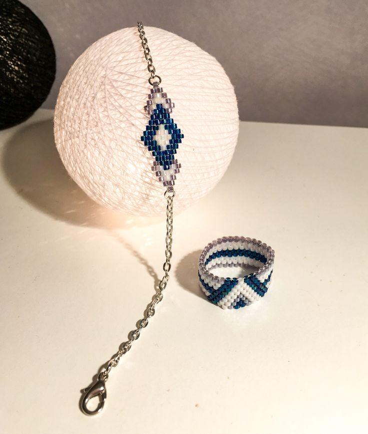 Bracelet chaînette et bague en perles Miyuki. Brick stitch & peyote #Miyuki