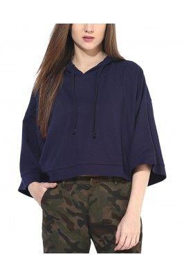 Navy Blue Fleece Hooded Long Sleeved T Shirt