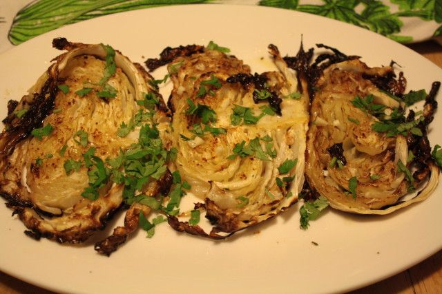 Roasted Cabbage Wedges with Spicy Lime Sauce