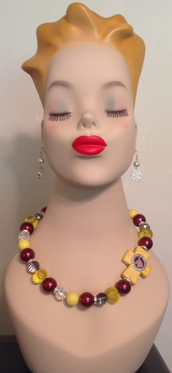 Texas State Bobcats Side Cross Beaded Necklace by sassygirlsx3, $24.95