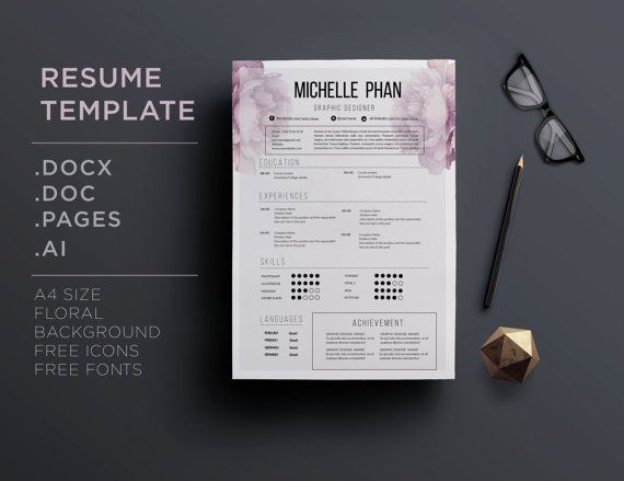 Elegant 1 page  cv template / resume template  by ChicTemplates