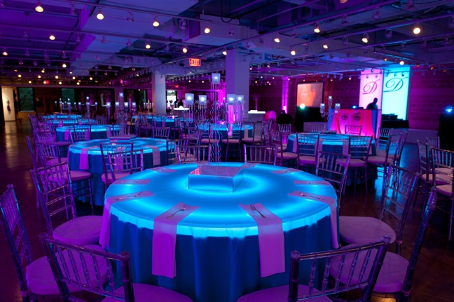 So Cool Light Up Table With A Colored Table Cloth In