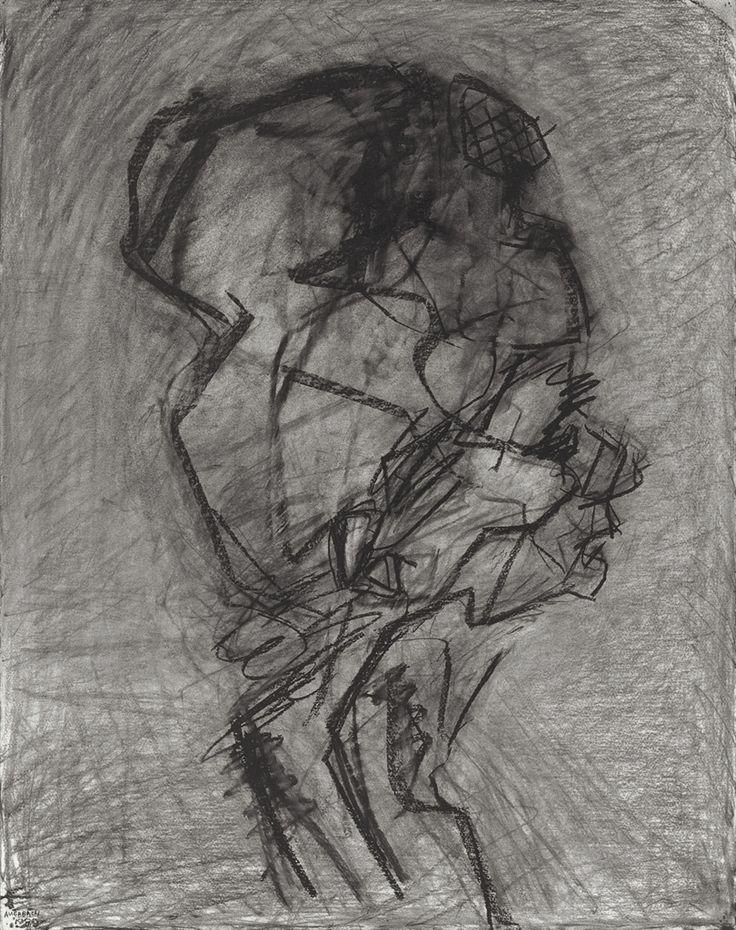 Frank Auerbach (British, b. 1931), Head of Julia - Profile, 1989. Charcoal on paper.