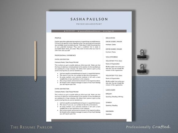 Resume Template 4 Page | Assistant  by The Resume Parlor on @creativemarket