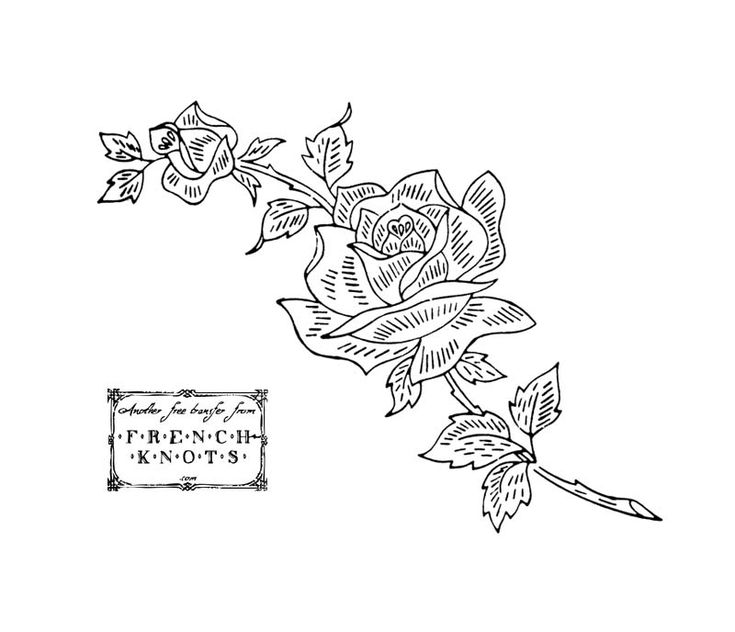 Hand Embroidery Patterns Free Printables | EMBROIDERY PATTERN ROSE - Embroidery Designs