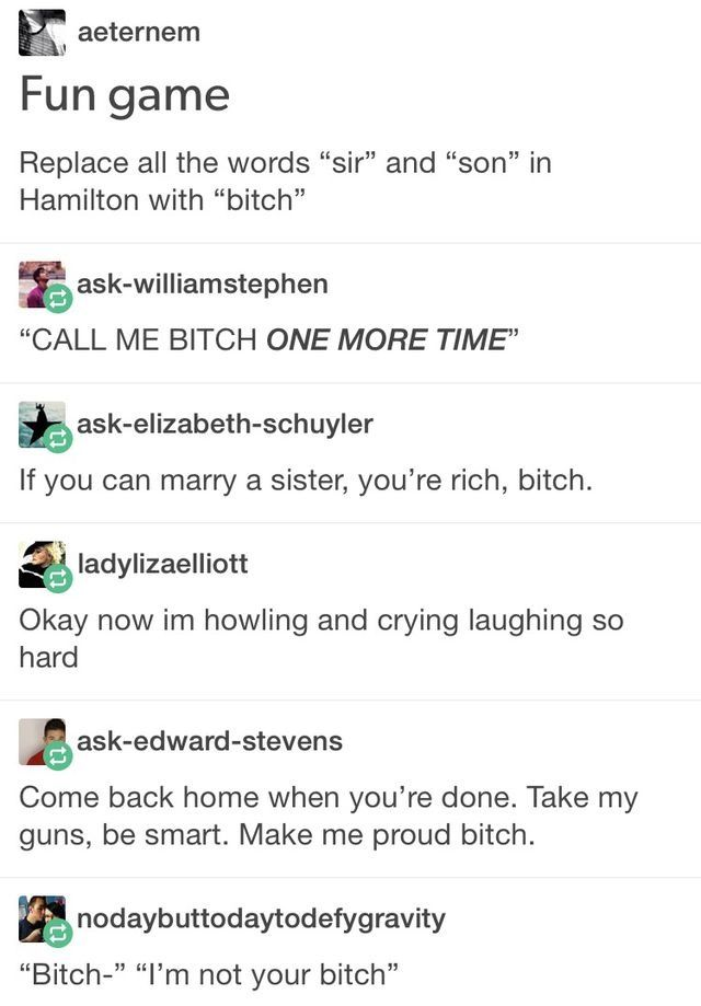 Pardon me, are you Aaron Burr, bitch? That depends. Who is asking. Oh sure, bitch, I'm Alexander Hamilton, I'm at your service bitch. I have been looking for you.