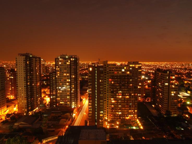 Santiago: Chile's capital at night. Photo by Patricio Huidobro. #travel #Chile #Santiago #night #city #landscape