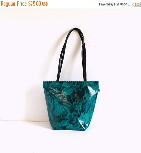 SALE Turquoise Tote bag   Leather handles  Turquoise by Alfastudio