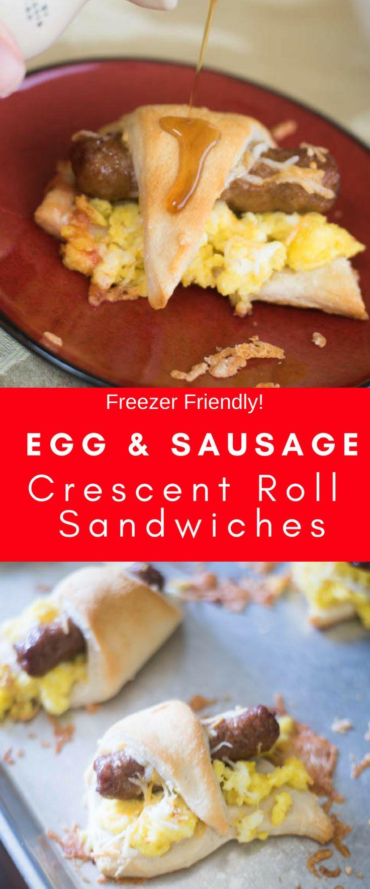 Sausage Breakfast Sandwich / Crescent Roll Recipes / Freezer Breakfast / Freezer Meals / Back to School / Breakfast / Easy Breakfast / #breakfast #sausage #backtoschool #easyrecipe #ad