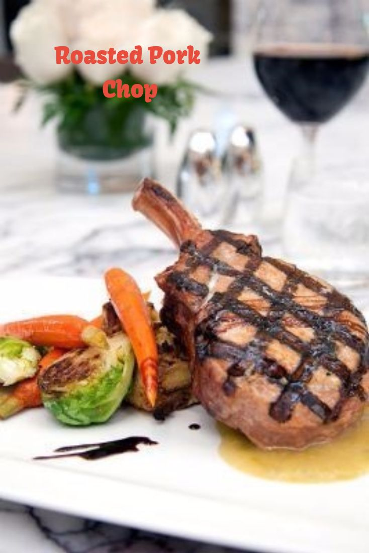 A delicious roasted pork chop... served up fresh at the LA Hotel in Downtown Los Angeles at Ziran Restaurant. #dtla #lahotel #food #foodie #porkchop #roastedporkchop #brusselsprouts #losangeles #vacation #travel #pork #yum