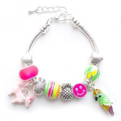 Gorgeous Lauren Hinkley Tropical Summer Silver Plaited and Metal Fluro Charm Bracelet wih dangle pink puppy and green parrot Bracelet is 15cm round but has an extension chain. Made in Australia Not suitable for children under 3 years of age.