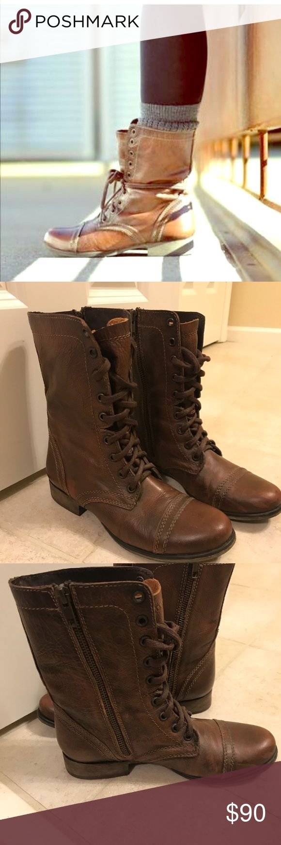 Steve Madden Troopa Conway Boots Size 7 lace up combat boots. excellent condition! I bought these and just never wore them. They may have been worn for a few hours but they don't look it!! They look brand new. See pics. Very rich brown color. Steve Madden Shoes Combat & Moto Boots