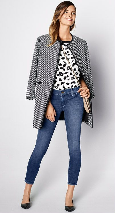 Must-Have Looks: Chase the blues in skinny denim, patent flats and a great graphic mix.