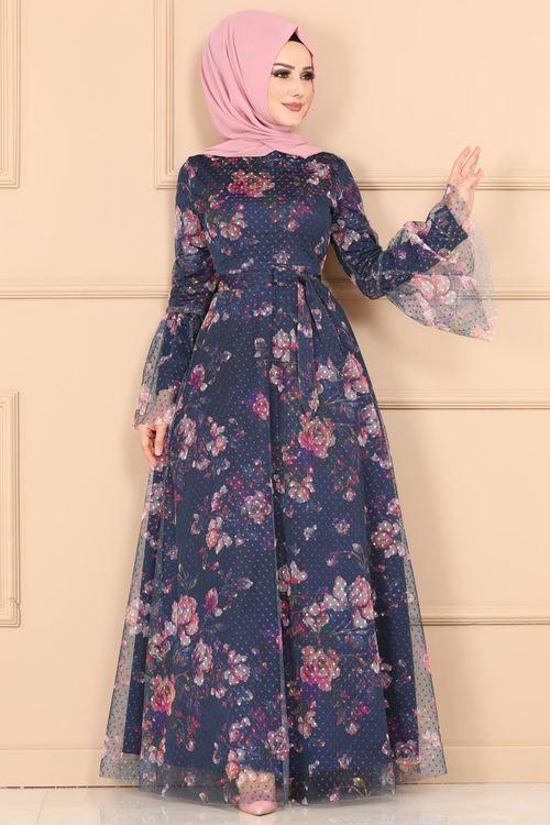 54e858315bba0 Modaselvim ELBİSE Çiçek Baskılı Tül Elbise 2174MS212 Laci | Bluz ...