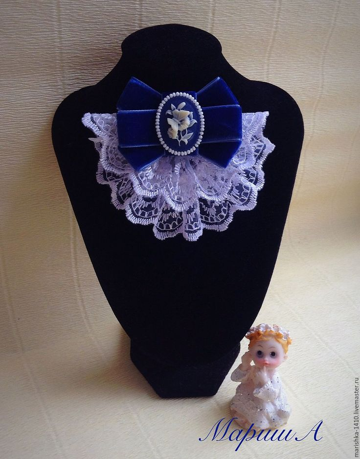 Купить Жабо - белый, жабо, белый цвет, синий, камея, галстук ручной работы