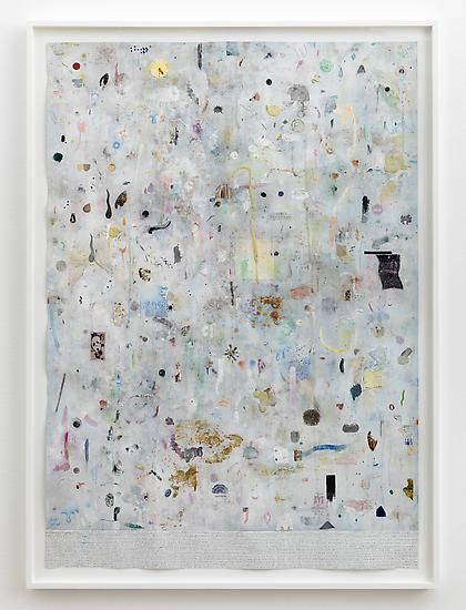 SIMON EVANS Stains, 2014 Mixed media on paper 40 x 28 1/4 in. (101.6 x 71.8 cm)