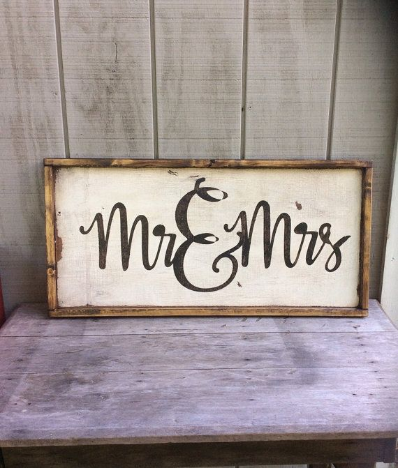 mr and mrs wood sign wedding sign his and hers sign - Wood Sign Design Ideas