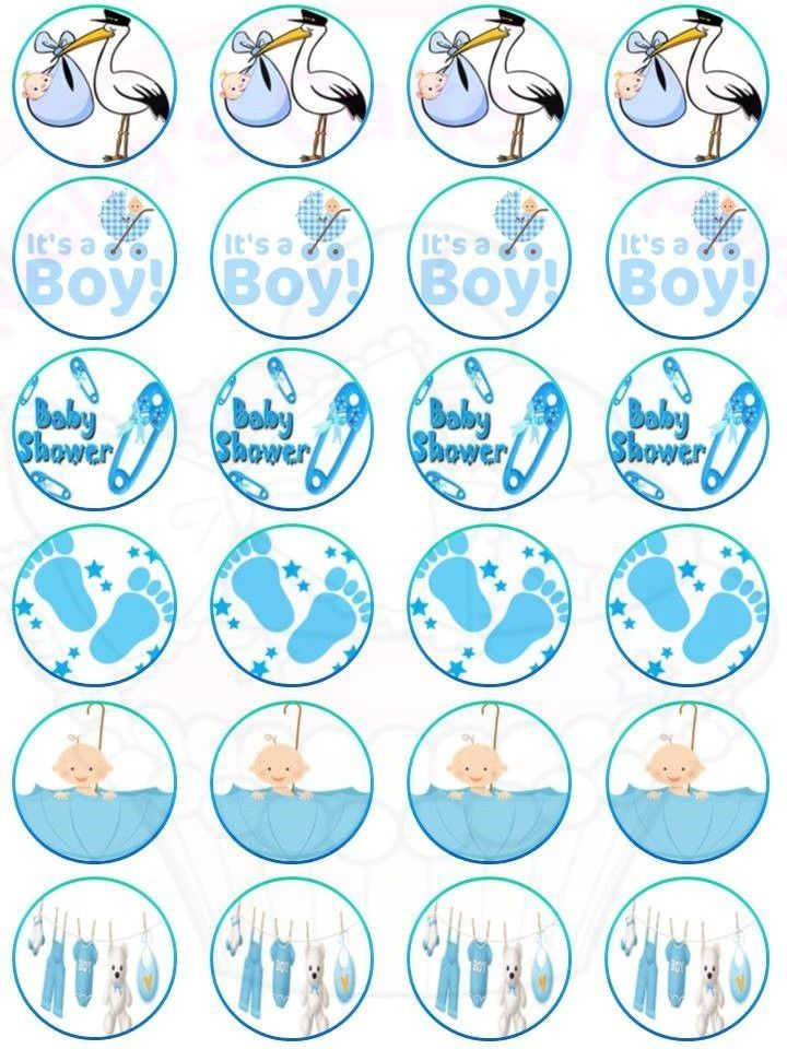 24 x Baby Shower Blue It's a Boy Mix Cake & Cupcake Toppers Edible Wafer Paper  #MAGiftsShop #cakesCupcakesToppersBirthdayAnniversary