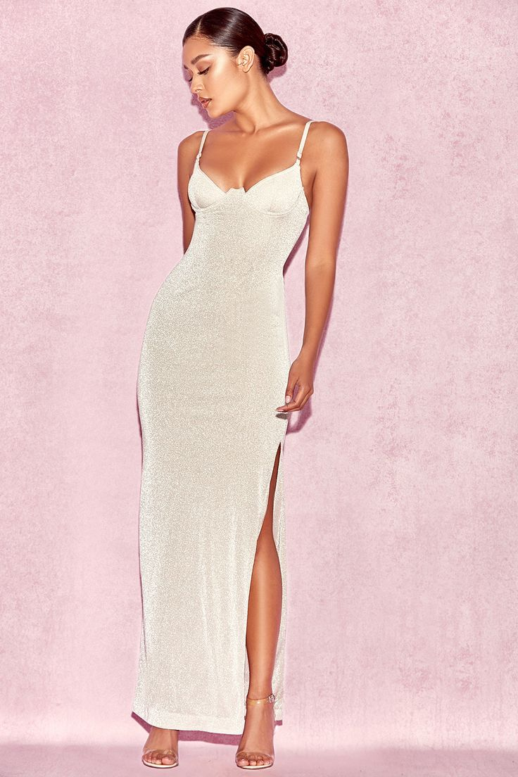Clothing : Max Dresses : 'Carmina' Silver Stretch Metallic Maxi Dress