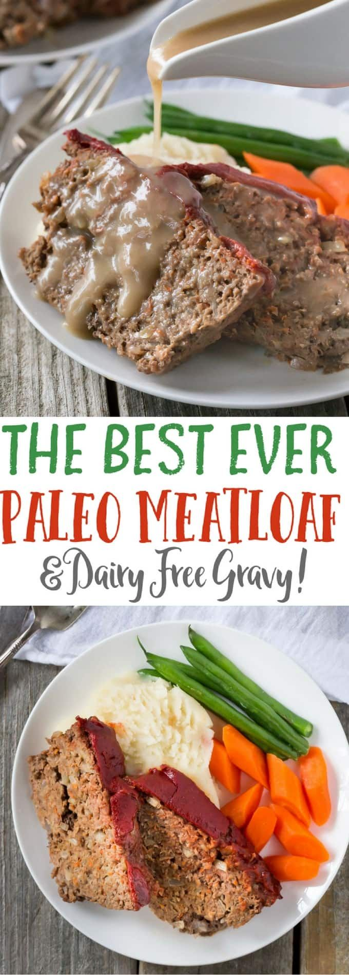 Paleo Meatloaf recipe with tasty gravy style sauce! You can use turkey, beef, or pork and make meatloaf muffins too, it's also gluten free and whole30 compliant.