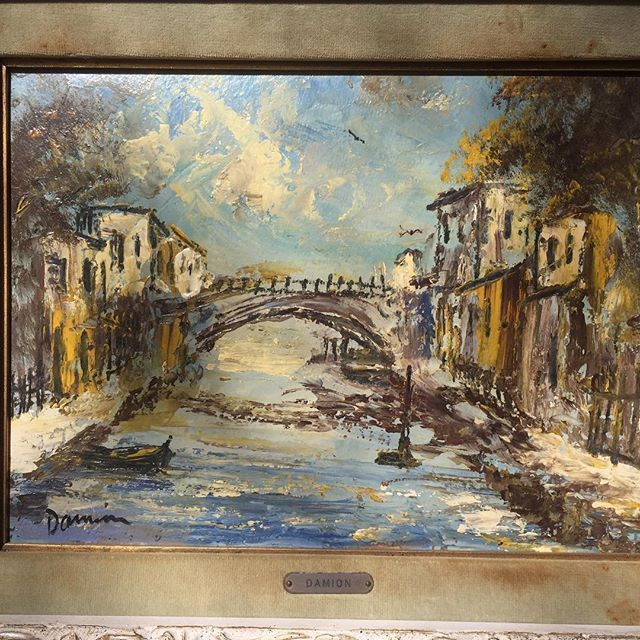 Midcentury oil painting on canvas by artist DAMION ,signed , for sale#art#art🎨 #modernart #artgallery #galleries #fineart#contemporarypainting #fineartpainting #pintura #peinture #painter#pleinairpainter #pleinair#oilpainting #oiloncanvas #artwork #artist#artislife #antiqueshop #frenchartist #luxuryart#luxuryrealestate #luxuryhome #localrealtors - posted by Shahin Javaheri https://www.instagram.com/shahins_vintage_goods - See more Real Estate photos from Local Realtors at…