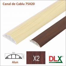Canal cablu :: Canal de cablu cu accesorii :: CANAL DE CABLU 75x20 din PVC CU CAPAC SEMIROTUND (ALUN)