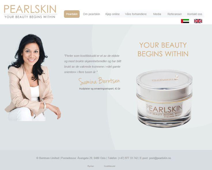 Pearlskin har valgt et stilrent og enkelt design på sin Idium Web+side.