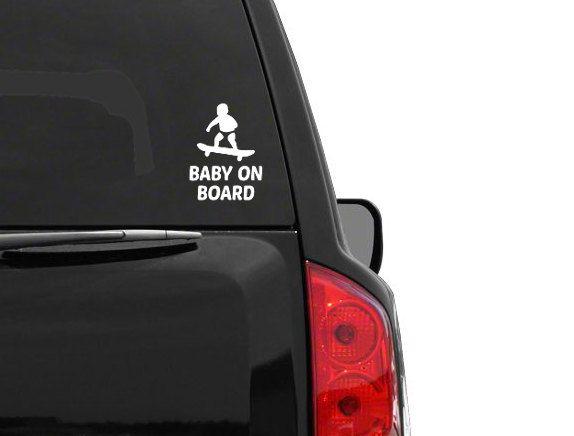 Skater Baby on Board Vinyl Bumper Sticker Window Laptop Car Truck Funny Skateboard Meme by WesternKyRustic on Etsy