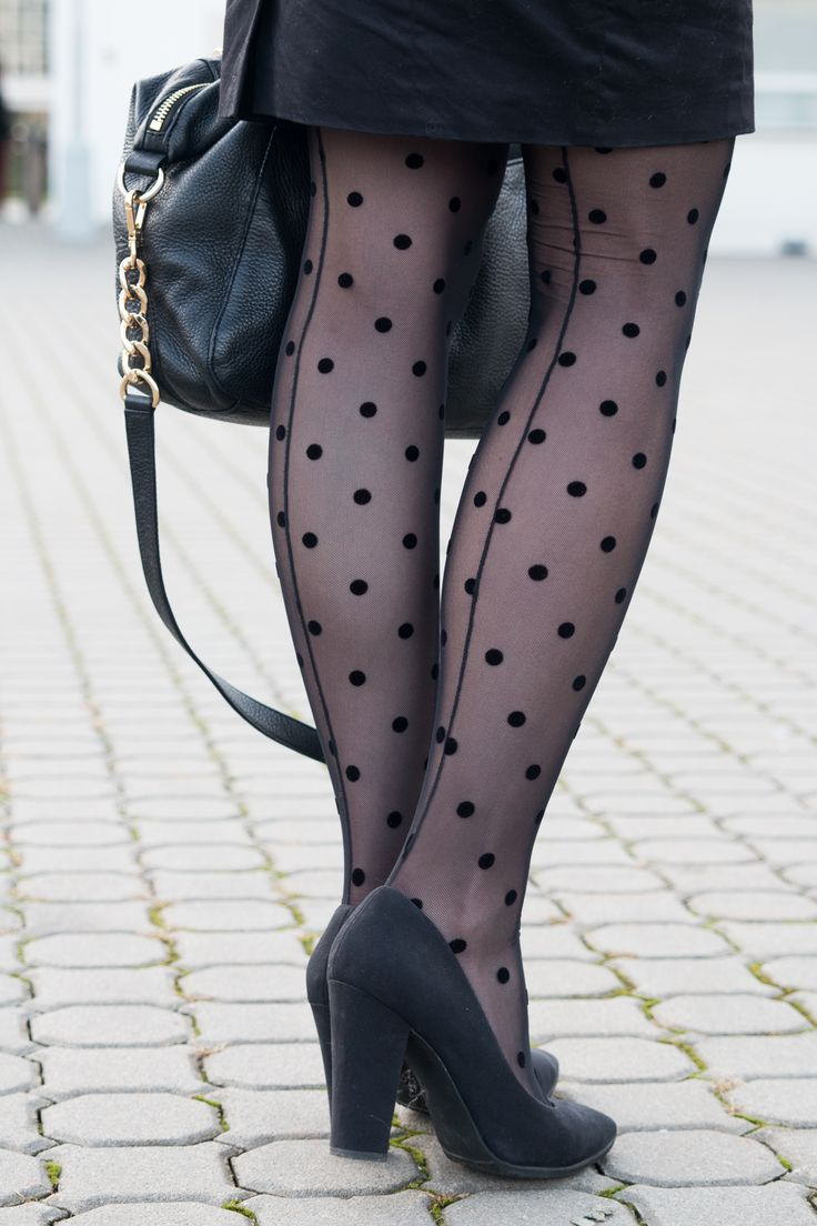 TIGHTS, POLKA DOTS, BLACK, HEELS