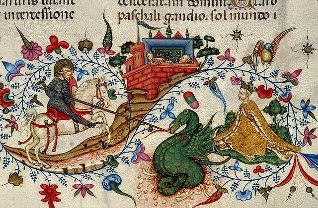 St. George and the Dragon ~ He was an early Christian martyr, who is said to have saved a princess and her village who were being tormented by a dragon. He captured the dragon and refused to kill until the village converted to convert to Christianity. They did and he killed the dragon. Later he was captured by the Romans and executed for being Christian.