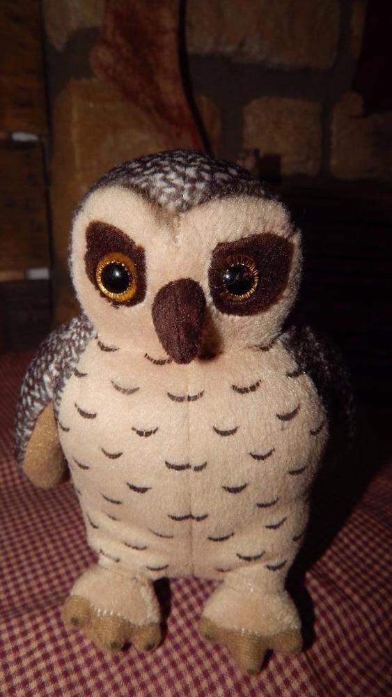 "Antics Plush Owl Stuffed Animal Toy 6"" Brown Hoot Owl Yellow Eyes RARE GUC #Antics"