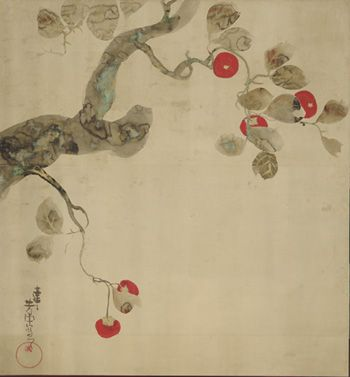 Japanese Art | Persimmon Tree | late 18th-early 19th century | Nakamura Hochu, Edo period | Ink and color on paper | Japan