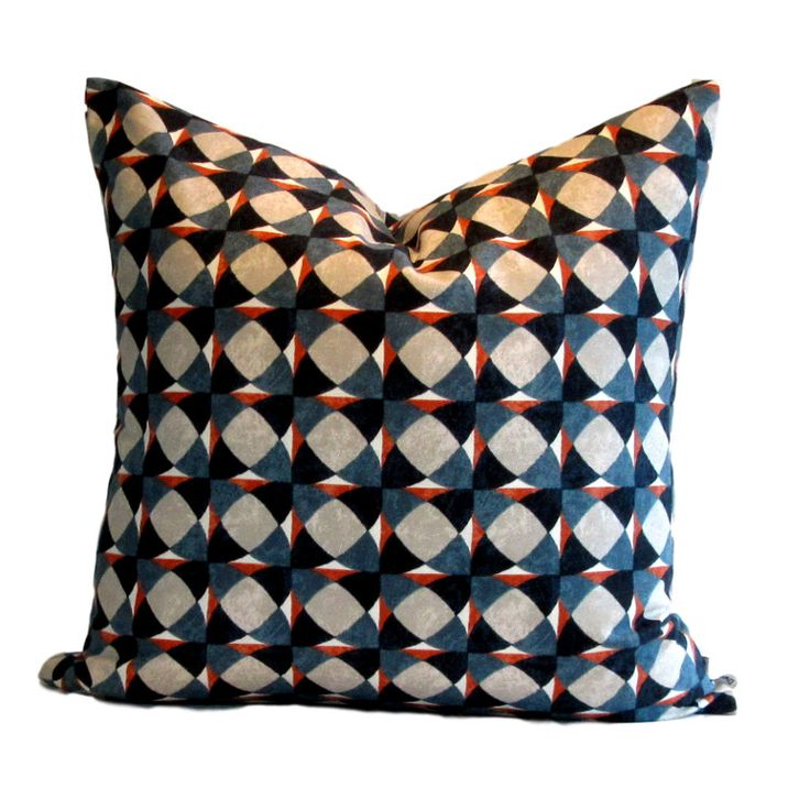 DwellStudio Pillow Cover Echo Geo Admiral, a 100% cotton fabric from Robert Allen, co-ordinates well with reds, blues, oranges, whites and or course, blues