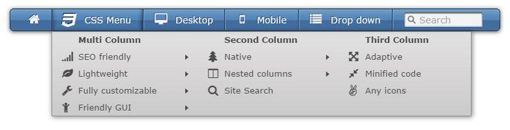 Multi column menu with search