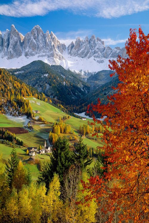 """Dolomites, Italy.  Great place to ski.  Try the """"Cella Ronda"""". Starting  and ending in Val Gardena."""