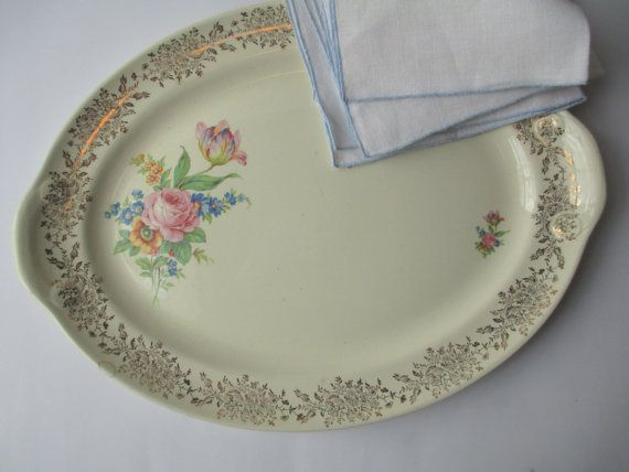 Large Vintage Taylor Smith Taylor Pink Blue Floral by thechinagirl