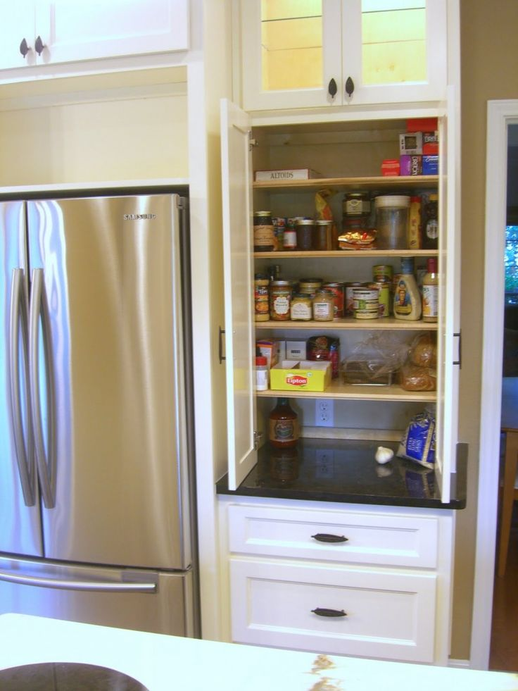 Kitchen Simple Tall Kitchen Pantry Cabinet With Dual White Swing Kitchen Storage Door Drawers Also White Varnished Pullout Pantry Cabinet And Double Stainless Steel Refrigerator Door Besides White Closet Pantry   Kitchen Storage Ideas : Reduce Clutter At Your Kitchen