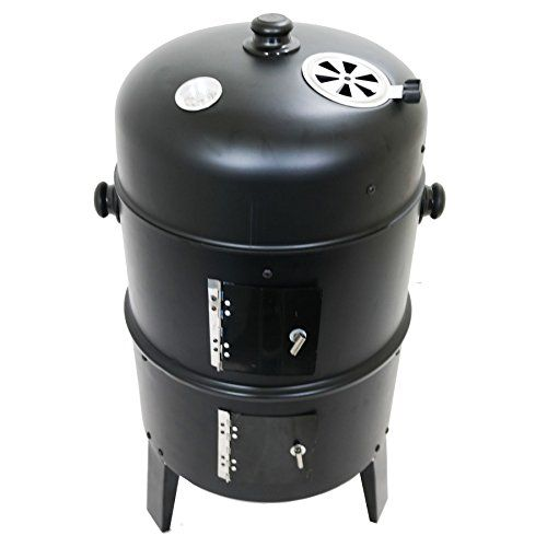 Marko Outdoor San Antonio Black BBQ Charcoal Grill Smoker Barbecue Outdoor Garden Cooker Steel This Stylish Steamer Smoker has 3 different floors for grilling, roasting and smoking, a water bowl for perfect steaming