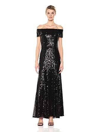 4d12c483cb5a Cachet Women's Off Shoulder Sequin Gown, Black, 2 | apparel | Sequin gown, Strapless  dress formal, Prom dresses