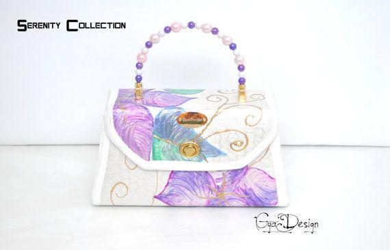 Purple painted purse handbag Turquoise handbag statement