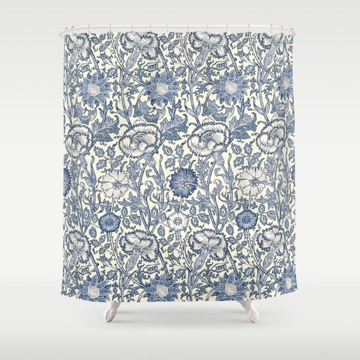William Morris Navy Blue Botanical Pattern 6 Shower Curtain