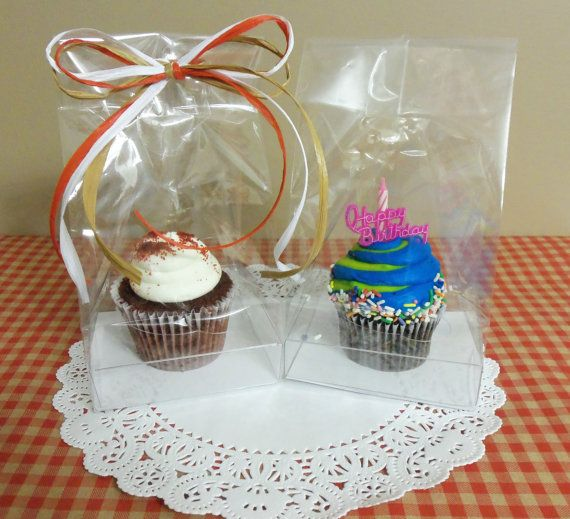 single cupcake gift bag with clear plastic insert to hold cupcake or muffin in place from. Black Bedroom Furniture Sets. Home Design Ideas