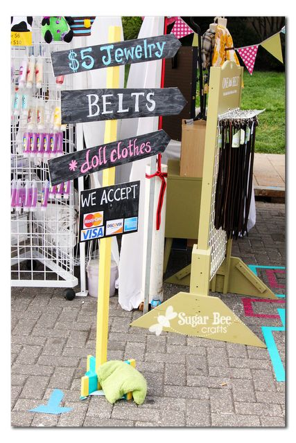 craft booth ideas @Dayna Melton...I might have time to make a little wood sign post for us. Weathered wood and white paint. Forget colors lol.
