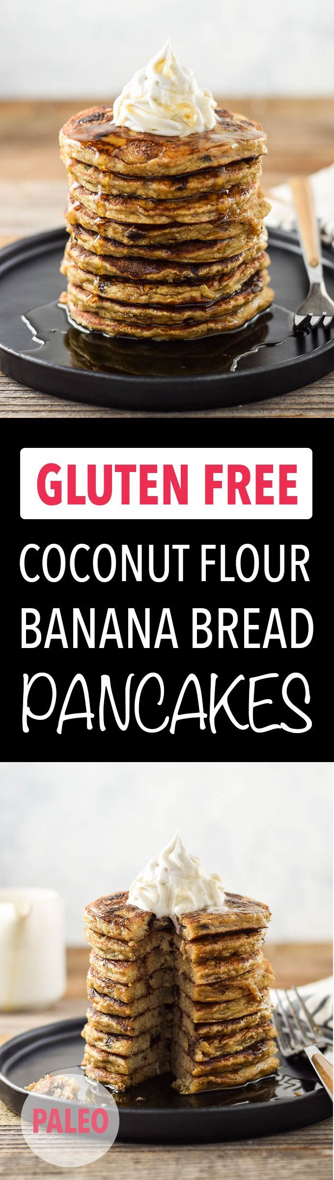 Easy & healthy banana bread pancakes are made with coconut flour and ZERO added sweeteners! GF, DF, Paleo, Sugar Free.
