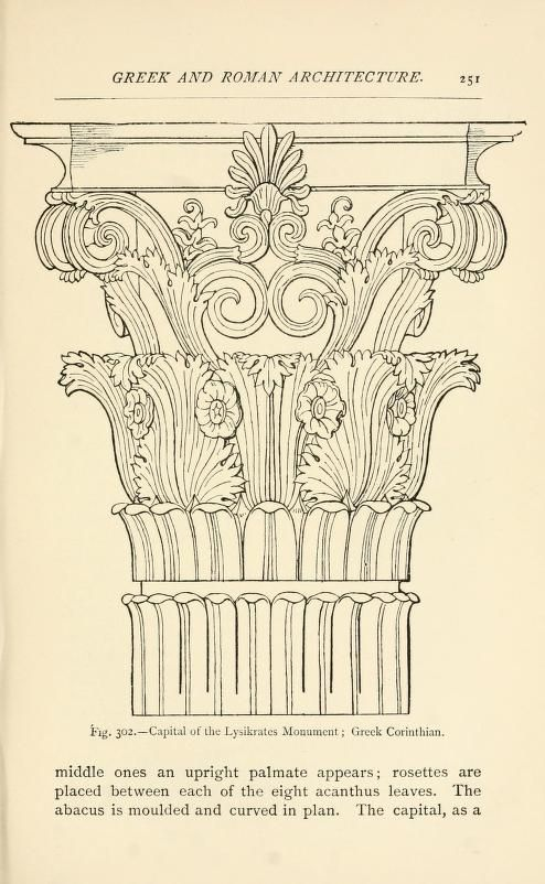 Greek Corinthian column capital  illustration. Historic ornament : treatise on decorative art