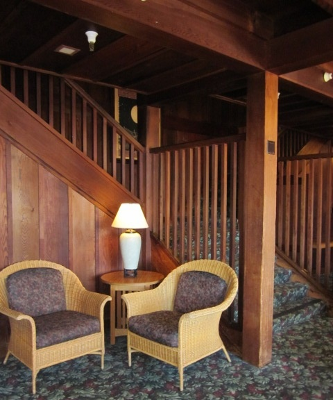 The warmth of redwood in a building by architect Julia Morgan, at Asilomar...