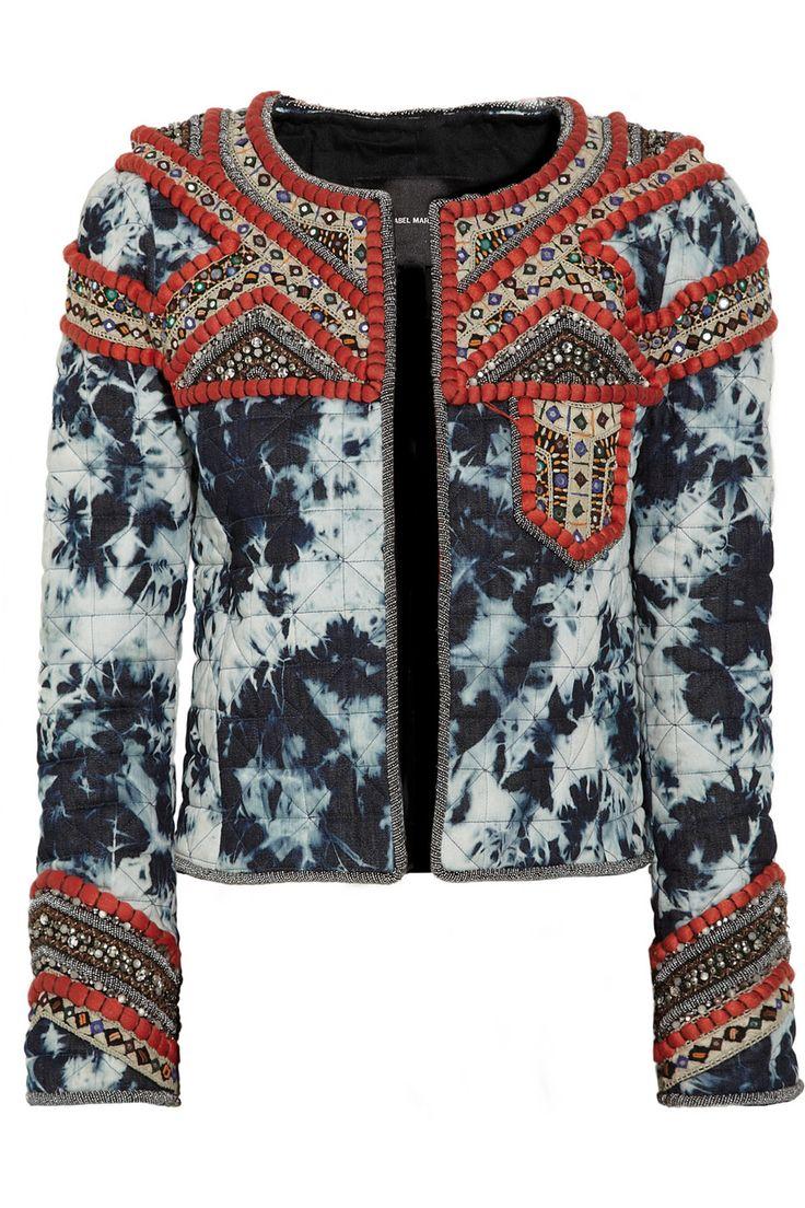 Isabel Marantembellished tie-dye quilted denim jacket.
