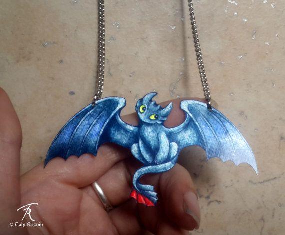 Édenté Dragon Night Fury noir HTTYD comment pour former votre dragon film fantasy mythique Metal collier