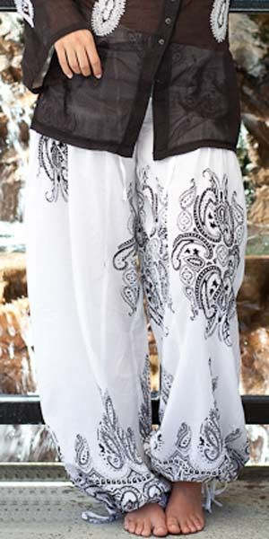 these are so cute! Kidari Genie Pants - One Size Fits All - White - Black Print : SpiritVoyage